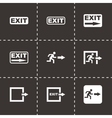 black exit icon set vector image vector image