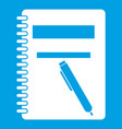 closed spiral notebook and pen icon white vector image vector image
