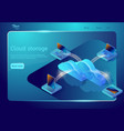 cloud data storage web page template isometric vector image vector image
