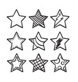 collection hand drawn doodle stars vector image vector image