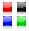 colored glass 3d buttons square icons vector image vector image