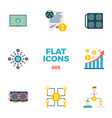 cryptocurrency and blockchain flat icons vector image vector image