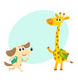 cute animal student characters dog and giraffe vector image vector image