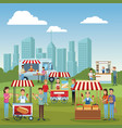 food stands at park vector image
