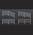 glass fence section with steel railing vector image