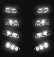 glowing car headlights 3d realistic set vector image vector image