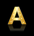 golden letter a with sparkle icon vector image
