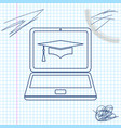 graduation cap and laptop icon online learning or vector image
