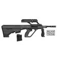 graphic detailed modern automatic bullpup rifle vector image vector image