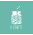 hand drawn logo with fruit water in mason jar vector image vector image