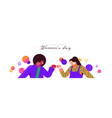happy womens day girl friend fist bump banner vector image vector image
