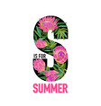 hello summer botanical tropical design floral vector image vector image