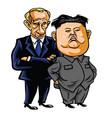kim jong-un with vladimir putin cartoon vector image vector image