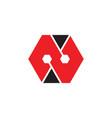 letter n hexagonal geometric logo vector image vector image