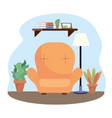 living room with chair and plants decoration vector image