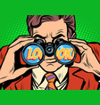 look businessman looking through binoculars vector image