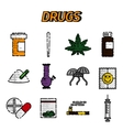 Narcotic drugs flat icon vector image