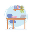 office workplace desk chair laptop shelf vector image vector image