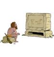 primitive man watching television vector image vector image