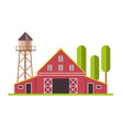 red and white barn and water tower at farm land vector image vector image