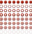 Red hexagon polygon icon set vector image vector image