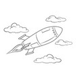 rocket missile flying coloring book vector image vector image