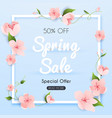 sale banner with flowers poster flyer vector image vector image