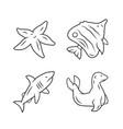 sea animals linear icons set starfish vector image vector image