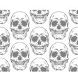 seamless gray pattern with skulls on white vector image