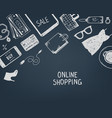 set hand drawn shopping online objects vector image