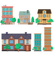 set houses in flat style design element vector image vector image