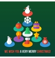 set isometric colorful christmas flat icons vector image vector image