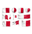 set malta flags banners banners symbols flat vector image vector image