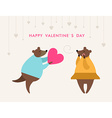 St Valentines day greeting card in flat style Bear vector image vector image