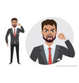 the evil man threatens with his hand angry men vector image