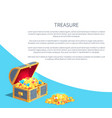 treasure poster wooden chest full ancient gold vector image vector image