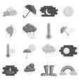 Weather icons set black monochrome style vector image vector image
