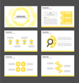 Yellow Tech presentation templates Infographic set vector image vector image