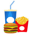 colorful poster fast food soda burger fries vector image