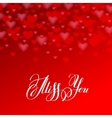 miss you inscription hand lettering on red heart vector image