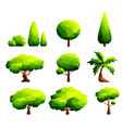 set of polygonal trees and bushes vector image