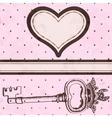 Vintage valentine card with antique key vector image