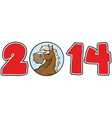 2014 Year Numbers With Horse Face vector image vector image