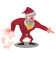 angry santa spreads the wrapping paper and points vector image vector image