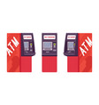 automated teller machine in red color vector image vector image