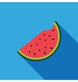 Big watermelon slice cut with seed Flat design vector image vector image