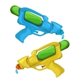Blue and yellow kids toy water pistols vector image