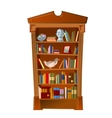 Bookshelf with bust photo frame and toy vector image