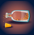 bottle with luminous balls vector image vector image