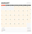 calendar planner for august 2018 design template vector image vector image